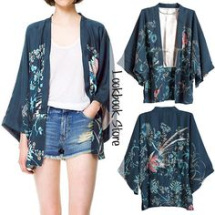 Women Navy Floral Love Bird Print Crop Sleeves Chiffon Kimono Cardigan Top Shirt #JumpersCardigans