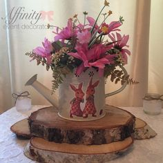 Beatrix potter, peter Rabbit, children's centrepiece, baby shower, christening, watering can, wild flowers, spring flowers, meadow flowers, affinity event decorators, Swansea, South Wales