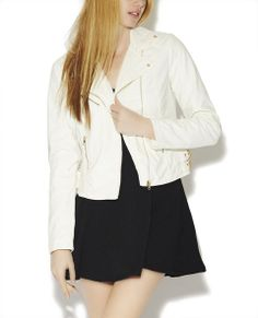 Double Buckle Faux Leather Jacket