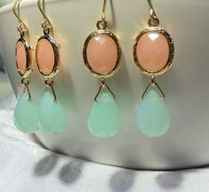 2 pairs of Bridesmaid earrings pink and mint by PamperMeBridal, $35.00