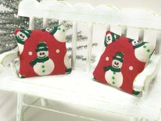 Dollhouse Miniature Christmas Pillows Holiday Snowmen Red White Pair Mini One Inch Scale. $10.00, via Etsy.
