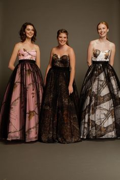 #Carrafina Camo Prom and Special Occasion Dresses. LICENSED #MossyOak and #RealTree!  Full camo ballgown with soft tulle waistband and soft tulle overlay on the ballgown! #camopromdress