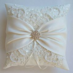 Wedding Pillow, Wedding Cushion, Lace Pillow, Ivory Satin and Beaded Alencon Lace, Ivory Satin Sash Cinched by Crystals - The MIRANDA Pillow -The MIRANDA is an ivory matte satin ringbearer pillow decorated with pearled and sequined alencon .Wedding P Wedding Ring Cushion, Wedding Pillows, Cushion Ring, Ring Bearer Pillows, Ring Pillows, Sew Pillows, Sewing Crafts, Sewing Projects, Pillow Crafts