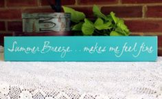 Summer Breeze Painted Wood Sign Beach Wall Decor Turquoise | eBay