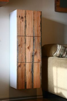 Perhaps 1 cabinet with a reclaimed front..? (doors | Handmade - Handmade Furniture in Los Angeles)