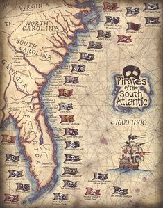 Pirates of the South Atlantic States Art Print by Geographicsart, $27.00