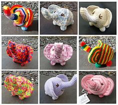 This is a pattern for a crocheted elephant soft toy that measures approx. 15cm from trunk to rear. It is worked amigurumi style, in continuous rounds of double crochet (UK notation) with simple increases and decreases. The eyes and mouth are embroidered on, making it suitable for small children provided the legs are firmly sewn on.