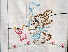 This kitchen towel is just adorable! Wish I could find the embroidery pattern :)