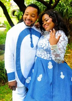 Bride In Beautiful Shweshwe Inspired Mermaid Dress 2019 For Lobola. South African bride in embroidered white net top mixed with blue Shweshwe bottom for her Lobola ceremony. Sepedi Traditional Dresses, African Traditional Wear, Traditional Wedding Attire, African Wedding Attire, African Attire, Shweshwe Dresses, Wedding Dress Gallery, Mermaid Dresses, Designer Wedding Dresses