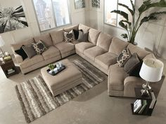 Sorento-5pcs Oversized Modern Beige Fabric Sofa Couch Sectional Set Living Room