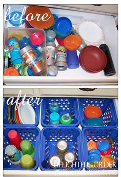 Organize the sippy cups and lids- along with a few other ideas