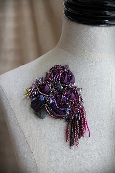 DAMSON PLUM II Beaded Textile Brooch by carlafoxdesign on Etsy, $85.00
