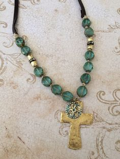 Aqua+Czech+Beads+with+Chunky+Gold+Cross+and+Faith+Symbol+by+CambriaBella+on+Etsy