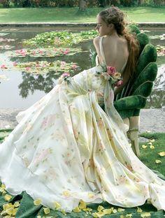 light-yellow rose garden wedding dress