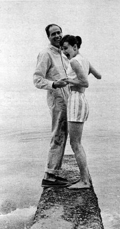 Audrey Hepburn, 1956 (in Malibu with Mel Ferrer) Her expression is because she had hydrophobia.