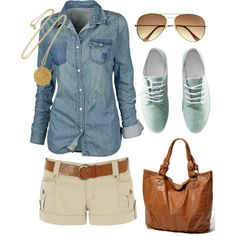 jean shirt; beige/ brown shorts; brown belt; converse low tops; chunky necklace; aviators