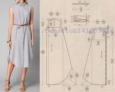 Платье-рубашка, выкройка на размеры 40/42, 44, 46/48 (рос.). #простыевыкройки #простыевещи #шитье #платье #платьерубашка #выкройка