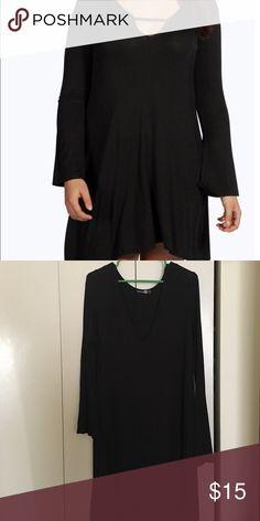 PLUS Swing Dress Black plunge swing Dress. Material hugs curves. Never worn. Boohoo Dresses Long Sleeve