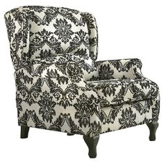 Grey Traditional Wing Back Recliner Accent Chair Black/White Floral Print Lounge floor living room Design Living Room, Living Area, Living Spaces, Power Recliners, Folding Chair, Room Chairs, Recliner Chairs, Chair Cushions, Contemporary Interior