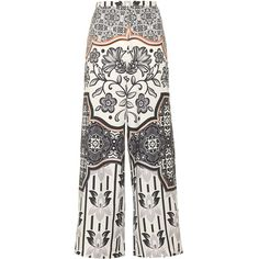 TOPSHOP TALL Tile Print Wide Leg Trousers (65 BRL) ❤ liked on Polyvore featuring pants, topshop, bottoms, pants/jeans, trousers, monochrome, white wide leg pants, high-waisted trousers, bohemian pants and high waisted wide leg trousers