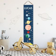 Solar System Growth Chart - Personalized Canvas Growth Chart, Space Nursery Decor or Solar System Nursery, Solar System Print by JoliePrints on Etsy Gold Nursery Decor, Boy Nursery Themes, Nursery Wall Art, Nursery Dresser, Themed Nursery, Nursery Ideas, Room Decor, Boys Growth Chart, Growth Charts