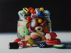 Photorealism, Hyperrealism, Candy Art, Oil Portrait, A Level Art, Colorful Candy, Amai, Art Poses, Candy Store