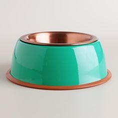 Lagoon Blue Copper Pet Bowl | World Market