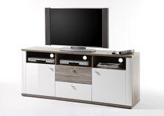 TV Kommode Montera II Hochglanz Weiß und San Remo Eiche passend zum Möbelprogramm Montera 1 x TV Kommode mit 2 Schubkästen 2 Holztüren 3 Receiverfächer und Einlegeböden...