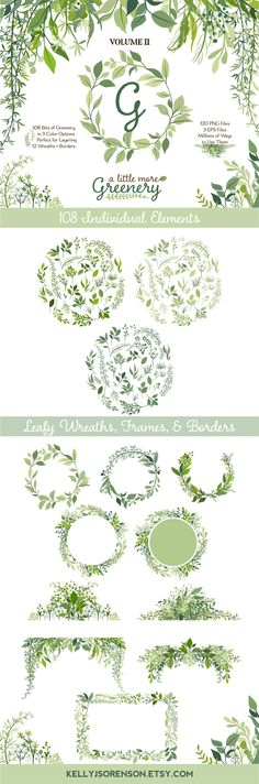 Leafy Graphics | Greenery Clipart | Vector Foliage | Leaves Wreath, Branch, and Botanical Clip Art | Wedding Wreath Greenery