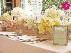 decoração de casamento cor chá, champanhe e amarelo
