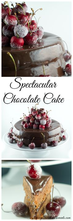Spectacular Chocolate Cake - It's a delicious chocolate cake, with chocolate ganache and frosted cherries on top. Show stopper and easy to make!