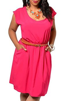 DHStyles Women's Plus Size Chiffon Pocket Summer Dress With Belt-1X - Pink DHStyles http://www.amazon.com/dp/B00LD6UC08/ref=cm_sw_r_pi_dp_m4.Uub04E8Q7J