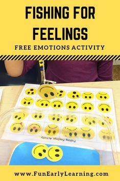 Fishing for Feelings Free Printable Activity! This activity is great for teaching children about feelings and emotions. It's perfect for toddlers, preschool, kindergarten and early childhood. #feelingsandemotions #feelingstheme #freeprintable #funearlylearning