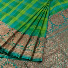 Handwoven Banarasi Kadhwa Tussar Silk Saree With Checks & Jangla Design 10020972 - AVISHYA.COM