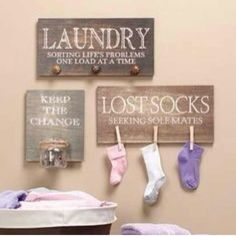 These signs are cute AND helpful! The lost socks one makes me laugh every time. Even as an adult I lose socks!