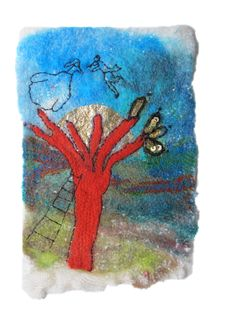 The red tree Felt picture postcard Amore Fecit
