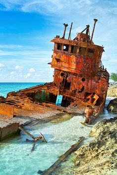 Shipwrecked in Bimini {Bahamas}- been to BImini but never saw this sight. Pretty cool. Bahamas on a boat is the only way to beat tourist traps! - www.boatshop24.com