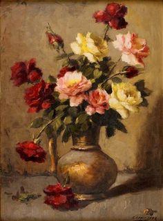 Vaso de flores, Edgar Oehlmeyer (Brasil, 1909-1967), óleo sobre eucatex, 75 x 55 cm