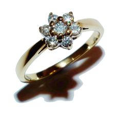 Fully Hallmarked 9ct Yellow Gold & 0.25ct Diamond Flower Cluster Ring (UK: L½)