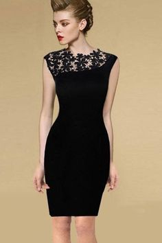 Little Black Dress Black Sleeveless Contrast Lace Shoulder Dress pictures Pretty Outfits, Pretty Dresses, Beautiful Dresses, Gorgeous Dress, Mode Outfits, Looks Style, Mode Inspiration, Mode Style, Cotton Dresses