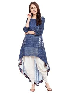 Indigo Cotton Matka Kurta with Dhoti Pants (Set of Salwar Designs, Kurta Designs Women, Kurti Designs Party Wear, Blouse Designs, Frock Fashion, Trend Fashion, Fashion Weeks, 80s Fashion, Style Fashion