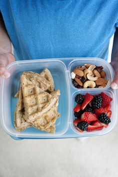 Whole wheat waffles in the lunchbox. Great idea!!