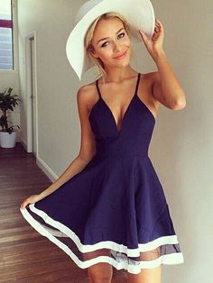 Summer Hot Sexy Fashion Sleeveless V-Neck Stitching Blue Straps Chiffon Dress