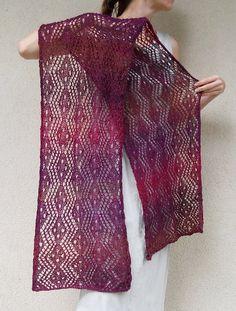 Hand knitted LACE shawl in Purple / Dark Magenta