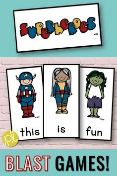 "Superhero Activities - A super set of literacy games for your superheroes! There are five levels of game cards included: CVC words, CVCe words, sight words, alphabet, and phonics ""hunks and chunks!"" Differentiate to meet your students' needs. The superhero theme can last all school year long! From Positively Learning #superheroes #superheroreading"
