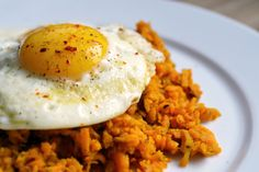 sweet potato hash with a fried egg. Yum!