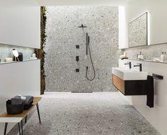 Gray Interior, Bathroom Interior Design, Bathroom Inspiration, Moodboard Inspiration, Bathroom Inspo, Bathroom Ideas, Terrazzo Tile, Stone Bathroom, Tumblr Rooms