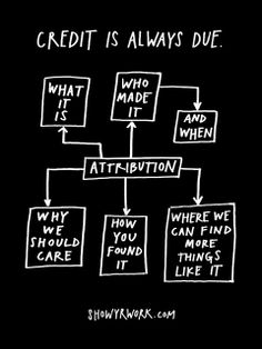 Credit Is Always Due poster from Show Your Work! by Austin Kleon… Social Media Tips, Social Media Marketing, Content Marketing, Internet Marketing, Digital Marketing, What Is Credit Score, Austin Kleon, Google Plus, Social Web