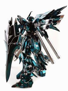 "Custom Build: MG 1/100 MSN-06S Sinanju ""Emerald Blue"" - Gundam Kits Collection News and Reviews"