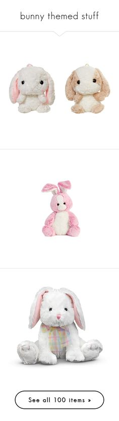 """bunny themed stuff"" by annemariye on Polyvore featuring bags, fillers, backpack, stuffed animals, toys, plushies, animals, filler, plush ve fillers - pink"